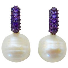 Michael Kneebone Amethyst Pave Paspaley South Pearl Huggie Earrings