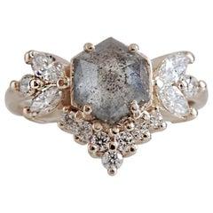 Hexagon Salt and Pepper Butterfly Diamond Yellow Gold Ring