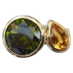 Michael Kneebone Green Zircon Yellow Sapphire Two-Stone Leah Ring
