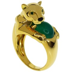 Cartier Chalcedony Emerald Onyx 18 Karat Gold Panthere Vedra Ring