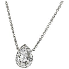 Harry Winston Pear Shaped 0.52 Carat Diamond Platinum Micropavé Pendant