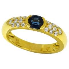 Piaget Sapphire Diamond 18 Karat Yellow Gold Anneau Tiare Ring