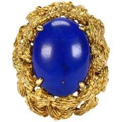 1970s Retro 14 Karat Gold Lapis Lazuli Midcentury Cocktail Ring