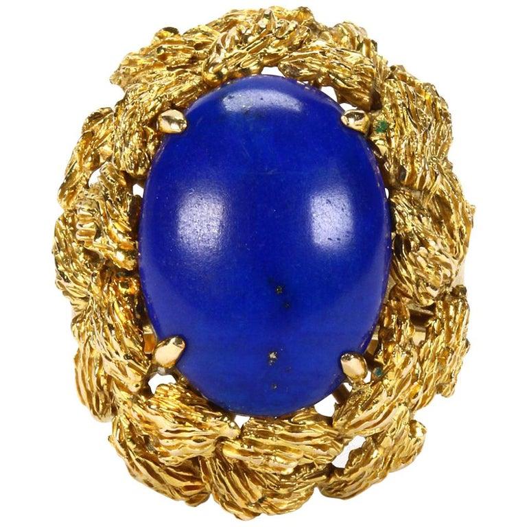 794fbe18ce3 1970s Retro 14 Karat Gold Lapis Lazuli Midcentury Cocktail Ring For Sale