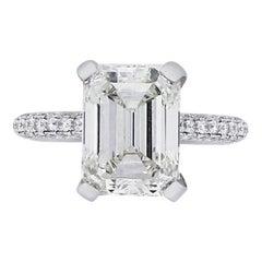 2.12 Carat GIA Certified Emerald Cut Diamond Ring