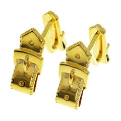 Hermes 18 Karat Yellow Gold Belt Motif Cufflinks