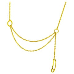 Hermes 18 Karat Yellow Gold Mini Punk Chaine D'ancre Necklace