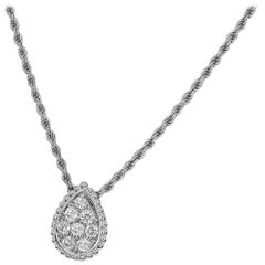 Boucheron 0.32 Carat Diamond 18 Karat  White Gold Serpent Boheme Necklace