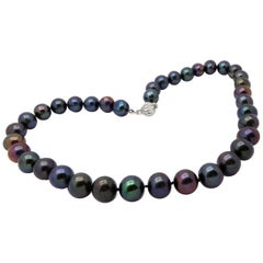 Estate Black Dyed Tahitian Pearl Strand Necklace