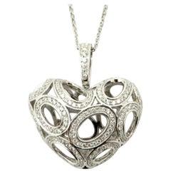 Estate 18K White Gold Round Diamond Open-Heart Puff Fashion Diamond Necklace