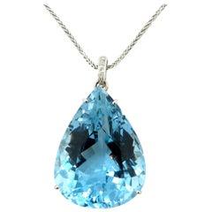 Estate 14 Karat Gold Large Pear Shaped Blue Topaz and Diamond Fashion Necklace