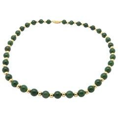 Estate 14 Karat Yellow Gold Jade Bead and Gold Rondel Separator Necklace