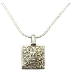 Estate 18 Karat White Gold Diamond Fashion Square Necklace
