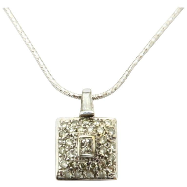 64c7f89c033 Estate 18 Karat White Gold Diamond Fashion Square Necklace