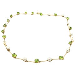 Estate 14 Karat Yellow Gold Peridot and Pearl Necklace and Bracelet Set