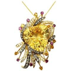 Estate 14 Karat Gold LeVian Designer Multi Gem Citrine and Diamond Necklace