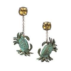 18ct White Gold, Verdigris Brass, Enamel, Rhodium and Citrine Crab Earrings