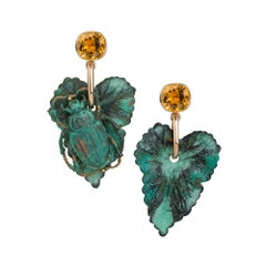 9 Carat Yellow Gold, Verdigris Brass and Citrine Leaf Insect Earrings