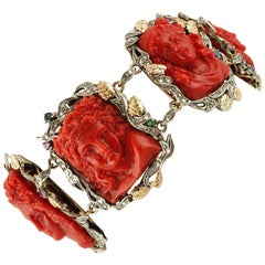 Engraved Faces on Red Coral,Diamonds,Rubies,Sapphires,Gold/Silver Link Bracelet