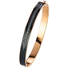 18 Karat Rose Gold Enameled Diamond Men's Bangle