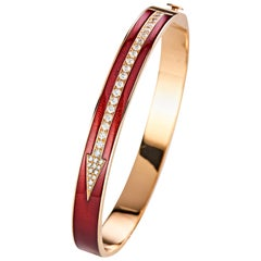 18 Karat Rose Gold Enameled Diamond Bangle