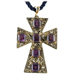 Amethysts, Diamonds, 9 Karat Rose Gold and Silver Cross Pendant