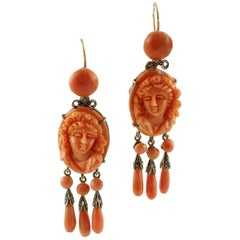 Engraved Red Coral, Diamonds, 9 Karat Rose Gold and Silver Dangle Earrings
