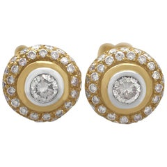 Vintage Diamond Yellow Gold Cluster Earrings