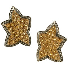 Yellow Sapphires, Diamonds, 14 Karat Rose Gold and Silver Star Earrings