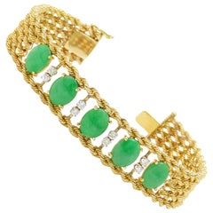 Midcentury Retro Estate 14 Karat Gold Jade Jadeite GIA VS Diamond Bracelet