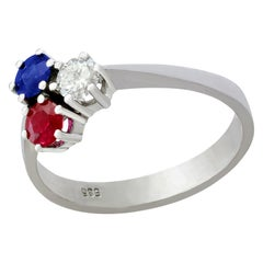 1970s Ruby and Sapphire Diamond and White Gold Trilogy Ring