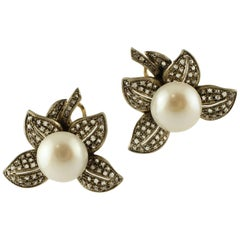 Pearl, Diamonds, 14 Karat Yellow Gold and Silver Earrings