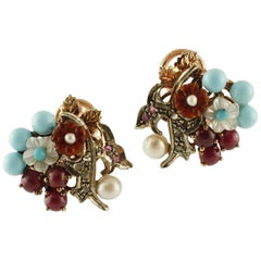 Diamonds, Rubies, Turquoise, Carnelian, Mother of Pearl Gold and Silver Earrings