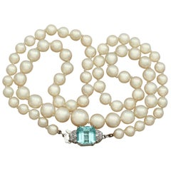 Vintage Single Strand Pearl and 3.03Ct Aquamarine and Diamond Necklace