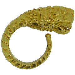 Lalaounis 22 Carat Yellow Gold Lion Head Ring