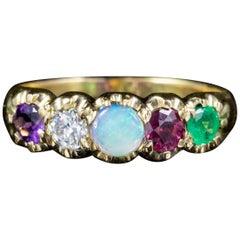 Antique Victorian 15 Carat Gold Gemstone Adore Ring, circa 1900