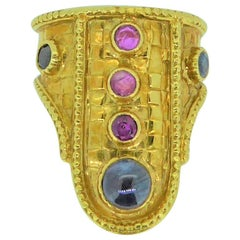 Lalaounis 18 Carat Yellow Gold and Multi-Gem Plaque Ring