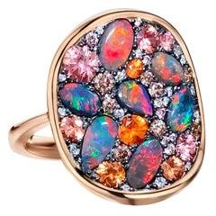Padparadscha Sapphire Black opal  pink Diamond Cocktail Ring