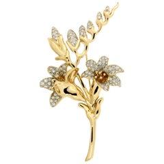 Valentin Magro Flower in Bloom Diamond Gold Brooch