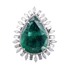 18.74 cts natural Zambian Emerald and Marquise & Baguette Diamond cocktail Ring