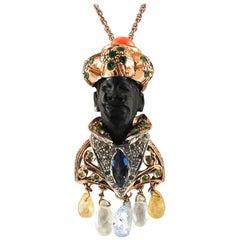Ebony Diamonds Emeralds Sapphire Coral 9 Karat Gold and Silver Moretto Pendant