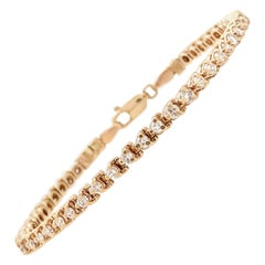 14 Karat Yellow Gold 1.92 Carat Diamond Tennis Bracelet