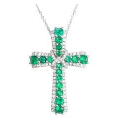 0.87 Carat Emerald and 0.39 Carat Diamond Cross Pendant in 18 Karat White Gold