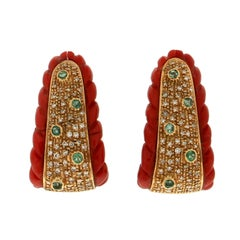 Coral 18 Karat Yellow Gold Diamonds and Emeralds Stud Earrings