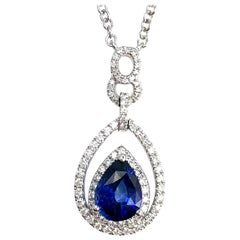 1.42 Carat Fine Blue Sapphire and 0.43 Carat Diamond Pendant in 18 Karat Gold