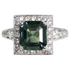 2.91 Carat Cushion Cut Green Sapphire and 0.51 Carat Diamond Ring