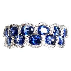 2.33 Carat Oval Cut Fine Sapphire and Diamond Ring in 18 Karat White Gold