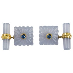 18 Karat Yellow Gold Chalcedony Blue Sapphires Carved Squared Cufflinks