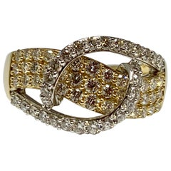 1.00 Carat Total Weight Diamond Bypass Two-Tone Cocktail Ring