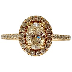 14 Karat Rose Gold GIA Certified 1.02 Carat Total Weight Diamond Ring